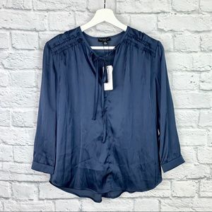 NWT Current Air Judy Smocked Satin Ruffle Blouse